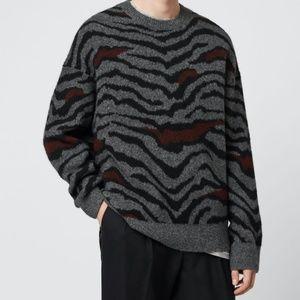 NWT All Saints Gray Tiger Stripe Crewneck Sweater